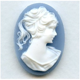 Cameos Girl in a Ponytail White on Blue 25x18mm (3)