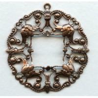 Ornately Detailed Filigree Pendant Oxidized Copper