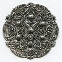 Splendid Gothic Details Oxidized Silver Medallion 72mm