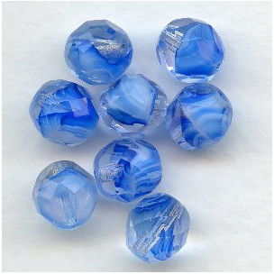 ^Blue, White and Crystal Czech Glass Beads 8mm