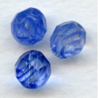 Blue and Crystal Striped Czech Glass Beads 8mm