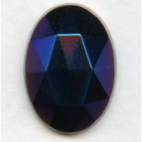 Iris Blue Flat Back Faceted Top 18x13mm Jewelry Stone