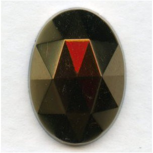 ^Iris Brown Flat Back Faceted Top 18x13mm Jewelry Stone