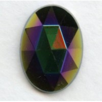 ^Iris Green Flat Back Faceted Top 18x13mm Jewelry Stone