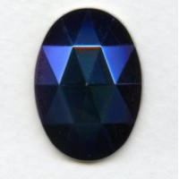 Iris Blue Flat Back Faceted Top 25x18mm Jewelry Stone