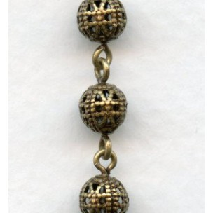 Filigree 6mm Bead Linked Chain Oxidized Brass (1 Ft)