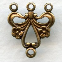 ^Three Strand Floral Connector Oxidized Brass (12)