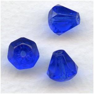 Sapphire Bell Shape Faceted Glass Beads 9x8mm