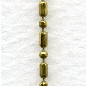 Tiny Raw Brass Mixed Ball Bead Chain 1.5mm Wide