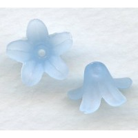 Blue Lucite Bell Shape Flower Beads Matte 13x7mm