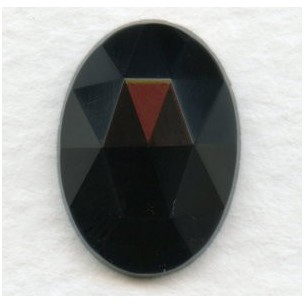 Jet Flat Back Faceted Top 18x13mm Jewelry Stone