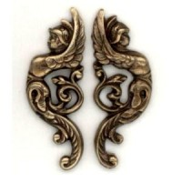 Winged Goddess Warriors Right/Left Oxidized Brass