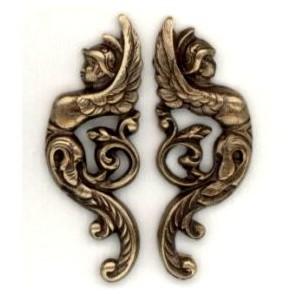 Winged Goddess Warriors Right/Left Oxidized Brass (1 set)