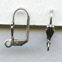 Lever Back Shell Earring Finding Oxidized Silver (24)