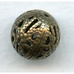 Dramatic Filigree Beads 12mm Round Oxidized Brass (12)