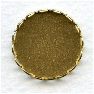 Lace Edge Settings 18mm Round Raw Brass (12)