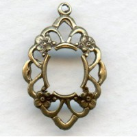 ^Openwork Floral Detailed 10x8mm Settings Oxidized Brass