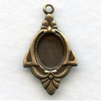 Art Deco Style 8x6mm Settings Oxidized Brass (12)