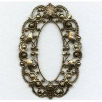 Grand Oval Filigree Framework Oxidized Brass (1)