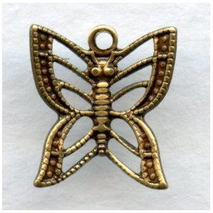 Filigree Butterfly Charms Oxidized Brass 11mm (6)