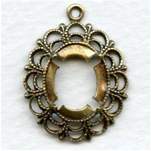 Filigree 12x10mm Pendant Settings Oxidized Brass