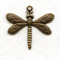 Detailed Small Dragonfly Pendants Oxidized Brass