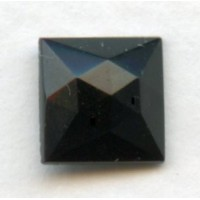 Jet Glass Square Flat Back Stones 8x8mm