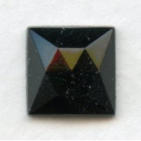 Jet Glass Square Flat Back Stones 10x10mm