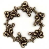 Ornate Leaves Framework Stamping Oxidized Brass
