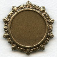Rococo Style Solid Back Setting Oxidized Brass 27mm (1)