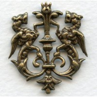 Royal Crest Heraldry Oxidized Brass 35mm (1)