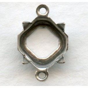 Square Octagon 8mm Setting Connectors Oxidized Silver