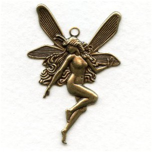 Nude Fairy Charms with Top Loop Oxidized Brass (6)