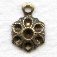 Flower Pendant Settings for 2mm Rhinestones Oxidized Brass
