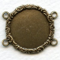 Floral Details 4 Loops 18mm Settings Oxidized Brass