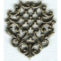 ^Triangle with Lattice Details Oxidized Brass Stamping (1)
