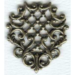 Triangle with Lattice Details Oxidized Brass Stamping ^ (1)