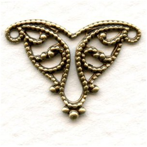 Filigree Connector Triangle in Oxidized Brass 19mm