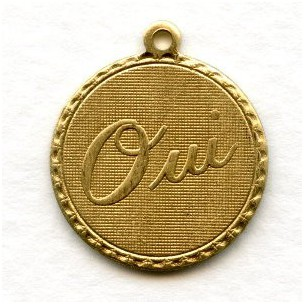 French Charms OUI Raw Brass Pendants