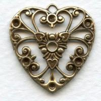Heart Shape Pendant for Rhinestones Oxidized Brass 27mm