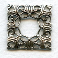 ^Open Center Square Filigrees Oxidized Silver
