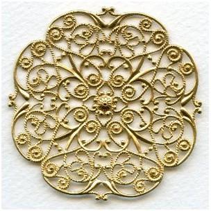 Ornate Flat Filigree 64mm Raw Brass