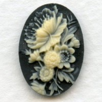 Flower Bouquet Cameos Ivory on Black 18x13mm