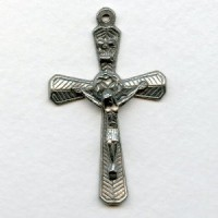^Vintage Crucifix Pewter 51mm Made in Italy