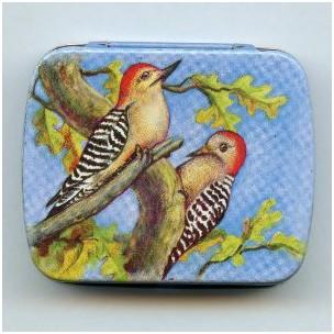 ^Vintage Tin Gift Box-Birds-Made in Switzerland 60mm (1)