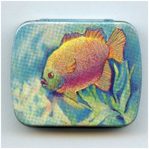^Vintage Tin Gift Box Fish Made in Switzerland 60mm