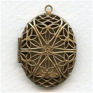 ^Oval Filigree Locket Oxidized Brass 32mm