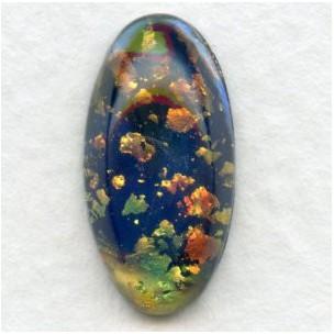 Dark Blue Opal Glass Pendeloque Stones 18x9mm