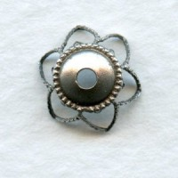 Elegant Filigree 9mm Bead Caps Oxidized Silver Plate