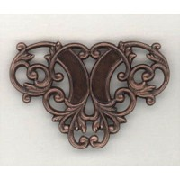 Floral Ornamental Openwork Stampings Oxidized Copper Triangle (4)